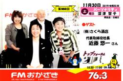 2019年 11月 「FMおかざき」 に近藤が出演しました!